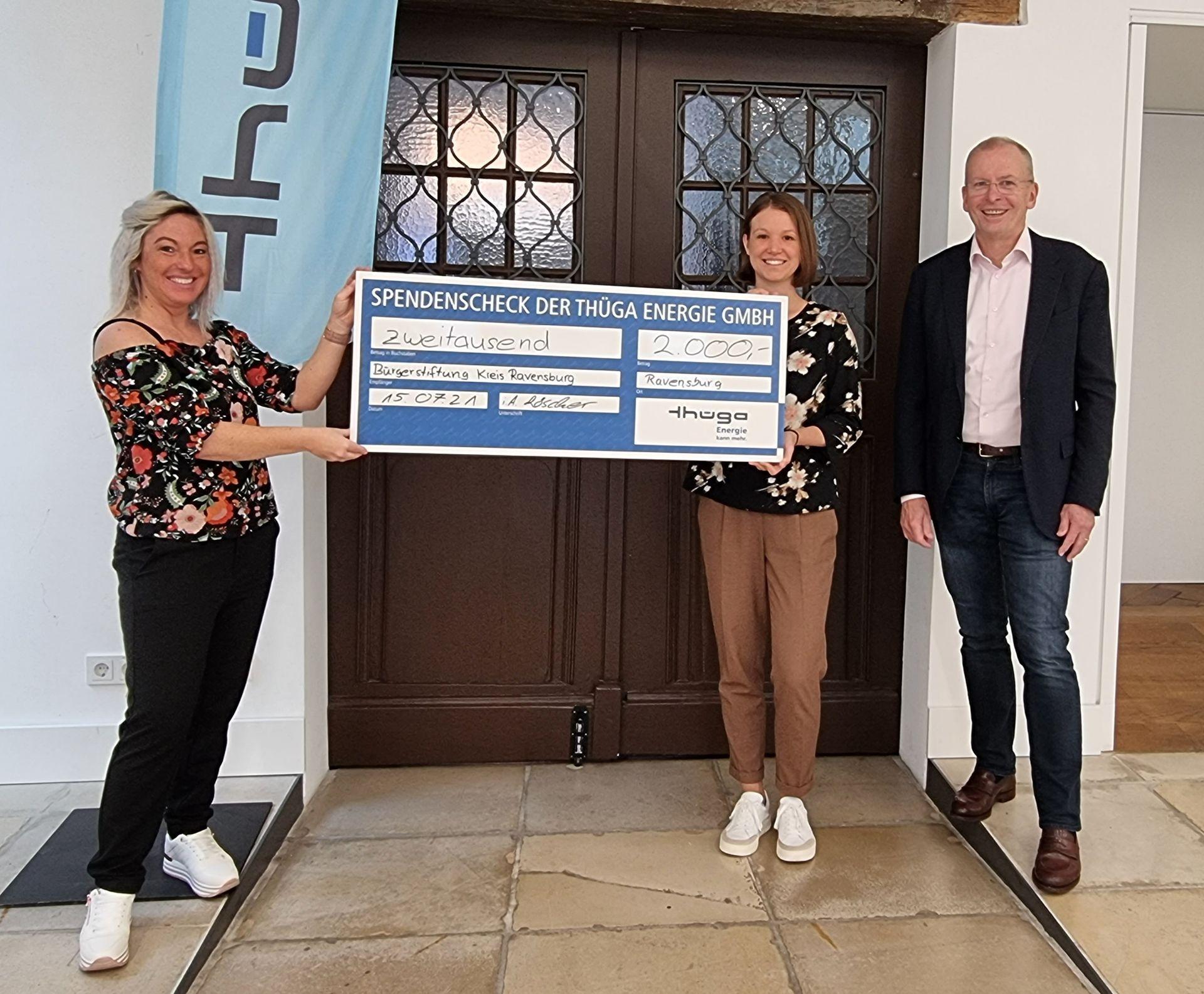 Thüga Energie spendet 2.000 Euro an Bürgerstiftung Kreis Ravensburg